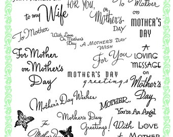 Mother's Day Greeting Wishes Clear stamps lot. UM FLONZ 354-816