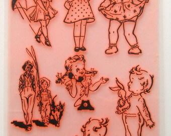 "Vintage Cute Children Baby Kids / Clear stamps large sheet (7""x10"") UM FLONZ 403-49"