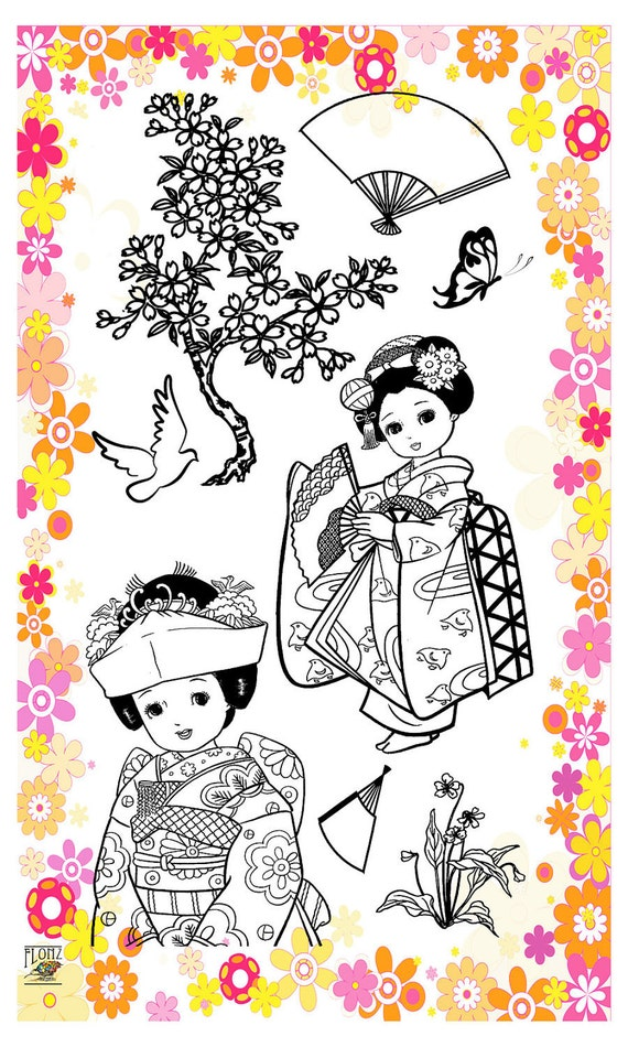 Japanese girl - kids series - set 25 - Flonz clear stamps