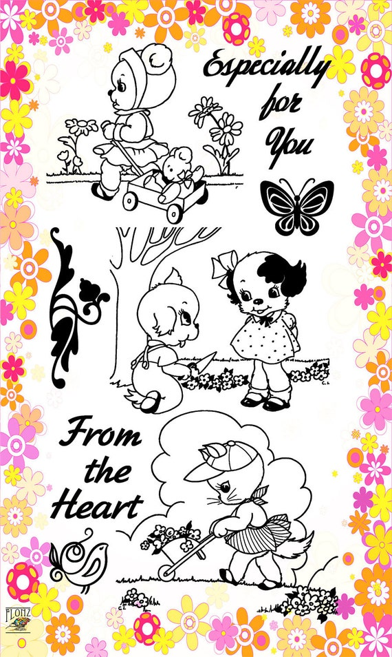 Poppy and kitten kids - Cute animals set 21 - Flonz clear stamps