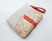 Floral parttern leather iPad case (the new iPad - iPad 2 - iPad 1) with card, stationary and sim card pockets - Make it your style