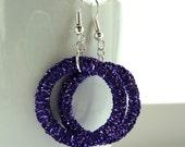 purple silver earrings-- Dorset button earrings in metallic purple with silver hooks, similar to crochet tatting or macrame