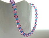 Pink crystal bracelet - Rose pink swarovski crystal bracelet with turquoise blue glass seed beads