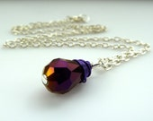 purple crystal necklace - Swarovski crystal tear drop bead pendant purple wire wrapped necklace on silver chain