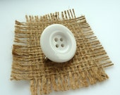 White button brooch, pin, badge