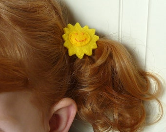 Punky Brewster sun hair ties, child size - yellow, children's, girls, sunny, sunshine, happy, smile, smiley,  hair bands, hair bobbles