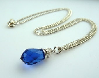 blue crystal necklace -- Midnight blue swarovski crystal tear drop silver wire wrapped pendant necklace on curb chain