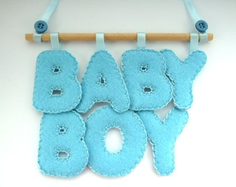 New Baby Boy  - felt plaque for door, wall hanging or mobile - ideal christening,baptism,naming ceremony gift