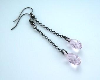 earrings pink swarovski crystal -- Elegant light pink swarovski crystal drop chain earrings in gunmetal grey, smoked rose