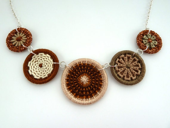 brown button necklace -- Dorset button necklace in browns on sterling silver chain OOAK