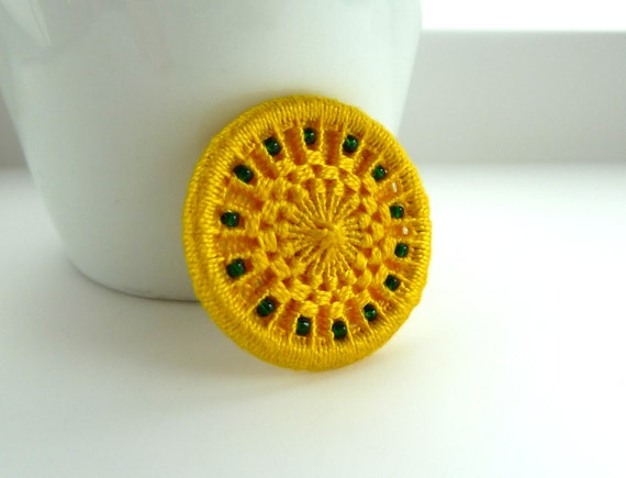 yellow green brooch -- Dorset button pin badge in sunny yellow with green beads, hand woven, pin