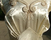 Vintage 1940s slipper satin wedding gown dress with remarkable decorations larger size