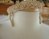 Romeo and Juliet pearl beaded wedding headpiece tiara Camelot rennasiance style 1950s halo