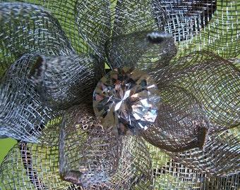 Wedding Headband 4 inch Silver Flower Bride Wedding Party Flowergirl Alternative Veil