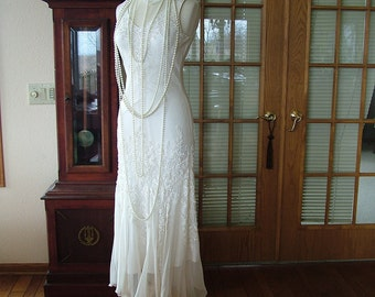 1920s Flapper Wedding dress scarf bottom sequin great gadsby vintage style bridal gown