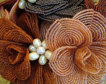 Heirloom French Beaded Wedding bouquet Brooches of fresh water pearls Flowers Fall Colors wedding dress ready