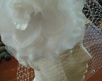 Handmade Wedding Flowers 7inch diameter Customize Rhinestones veils colors