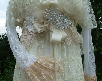 Wedding dress Vintage inspired empire waistline renaissance style fantasy gown antique laces