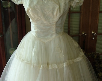 1950s vintage wedding dress gown tea length lace and tulle retro chic