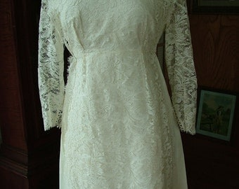 Vintage lace empire sheath wedding gown