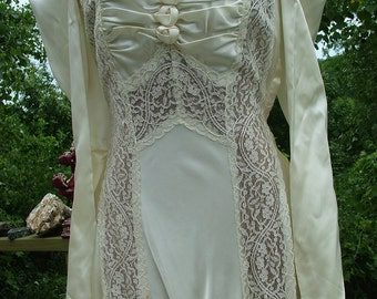 Wedding dress 1930s vintage bias cut with lace panels