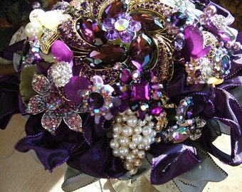 Bridal bouquet handmade Purple wedding brooch beaded bouquet flower bouquet SALE