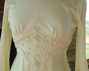 Renaissance vintage pearls beaded wedding gown dress Camelot Romeo Juliet style