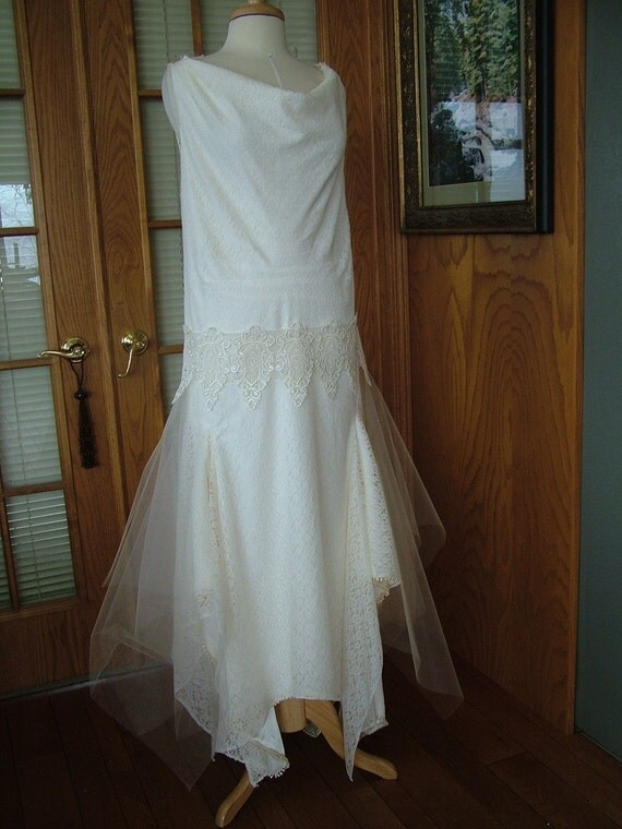 Wedding dress Custom handmade Vintage Wedding dress 1920s Flapper wedding great gadsby bride