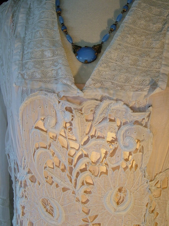 1910 1920 Antique Lace Wedding Dress Edwardian Victorian Flapper White gown