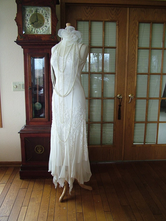 1920s flapper wedding dress scarf bottom sequin great gadsby for Wedding dress shops in new orleans