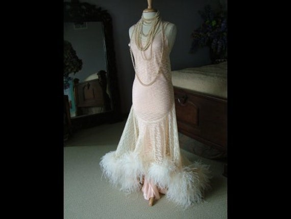1920s inspired wedding dress evening gown bridal gown oozing with ostrich feathers