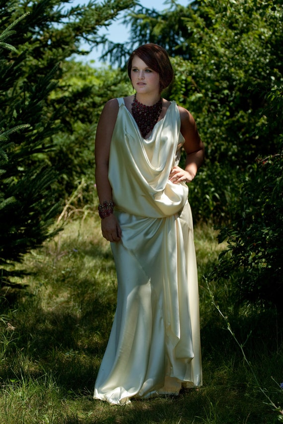 Wedding Dress 1920s Vintage Style 1930s Inspired Bias Cut Ivory Satin Bridal Gown