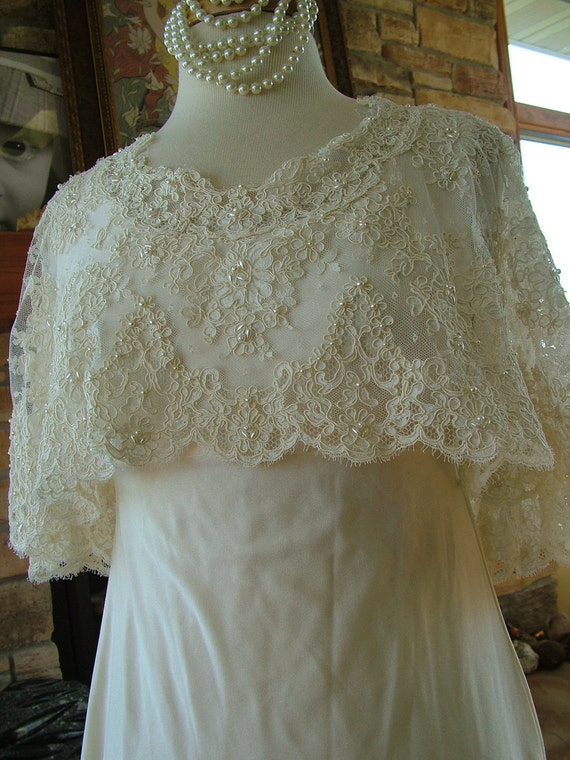 Wedding dress in Alencon lace cape bodice knit skirt 1970s vintage bridal gownRESERVED