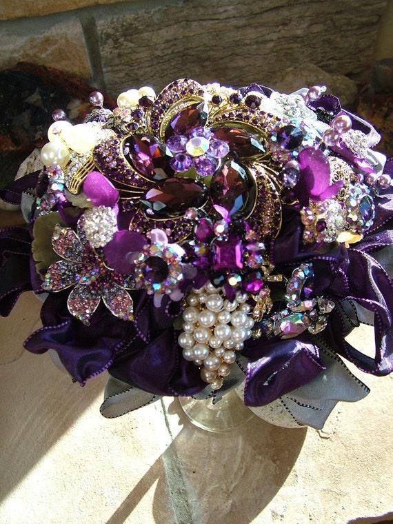 Bridal bouquet handmade Purple wedding brooch beaded bouquet flower bouquet SALE