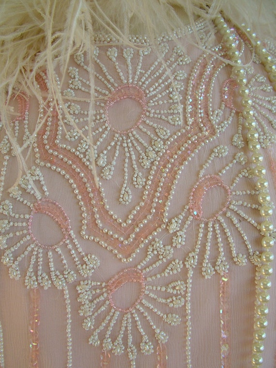 Flapper pale pink beaded dress 1980s does 1920s beaded wedding dress