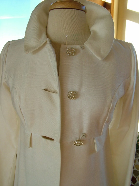Wedding dress coat ivory vintage 1960s empire jacket cape wrap stole wedding perfect RESERVED