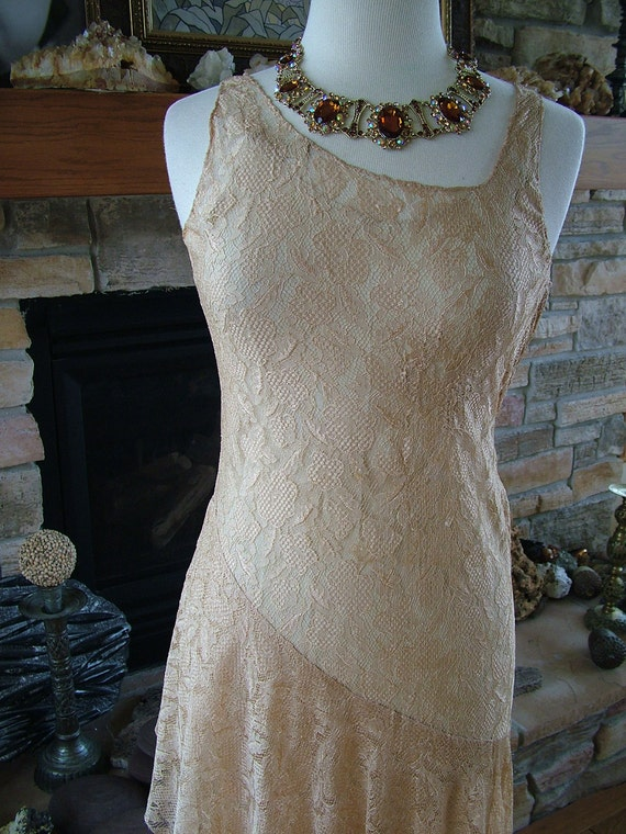Vintage 1920s ecru lace wedding dress evening gown flapper wedding layered lace