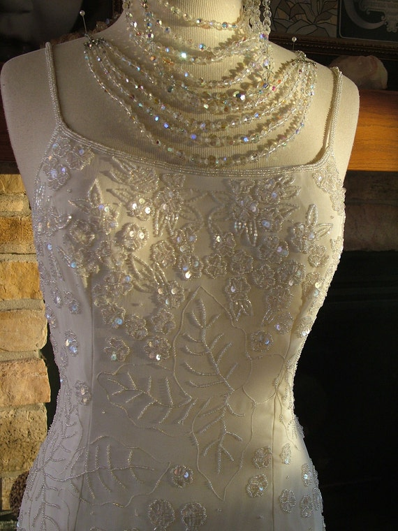 Vintage inspired marilyn monroe bombshell beaded dress wedding for Beaded vintage style wedding dresses