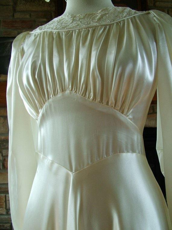 Vintage wedding gown wedding dress 1940s anitque slipper satin for Slipper satin wedding dress