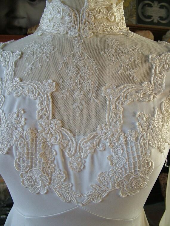 Wedding dress 1970s vintage victorian inspired lace poly empire waistline steampunk dress