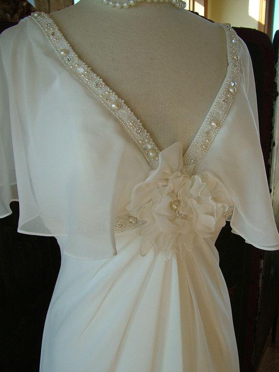 Wedding dress vintage 1930s inspired flutter sleeve silk chiffon empire bridal gown