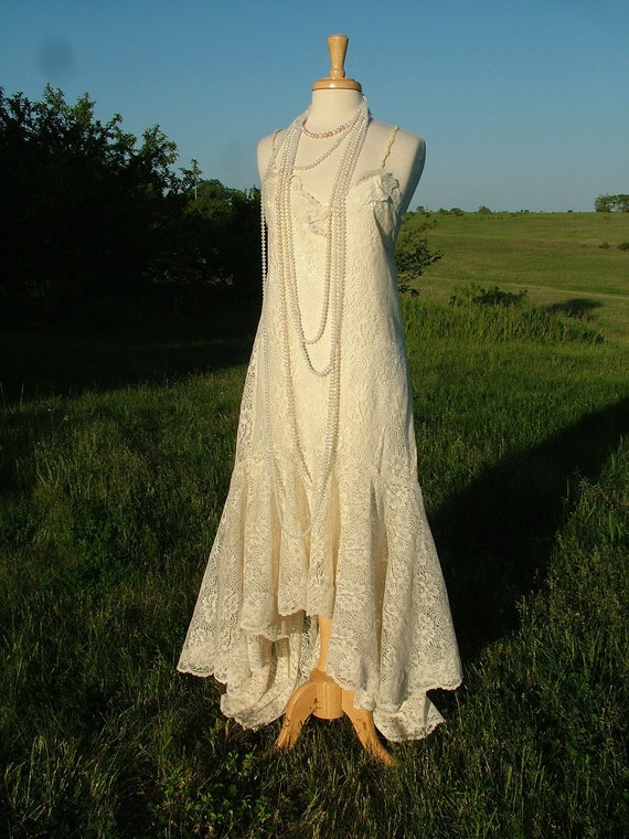 Wedding dress 1920s vintage inspired art deco bridal gown for Vintage wedding dresses 1920s