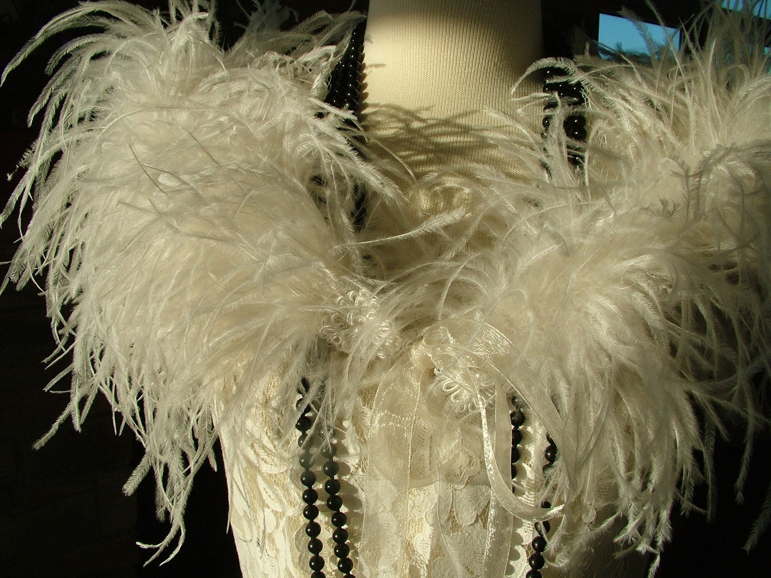 Vintage Style Ostrich Feather Boa With Ribbon Ties Wedding