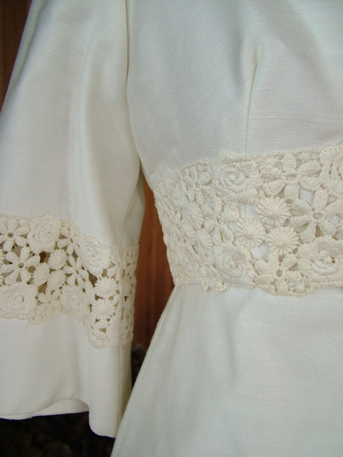 1960s vintage linen wedding dress classic chic sixties style for Cloth for wedding dresses