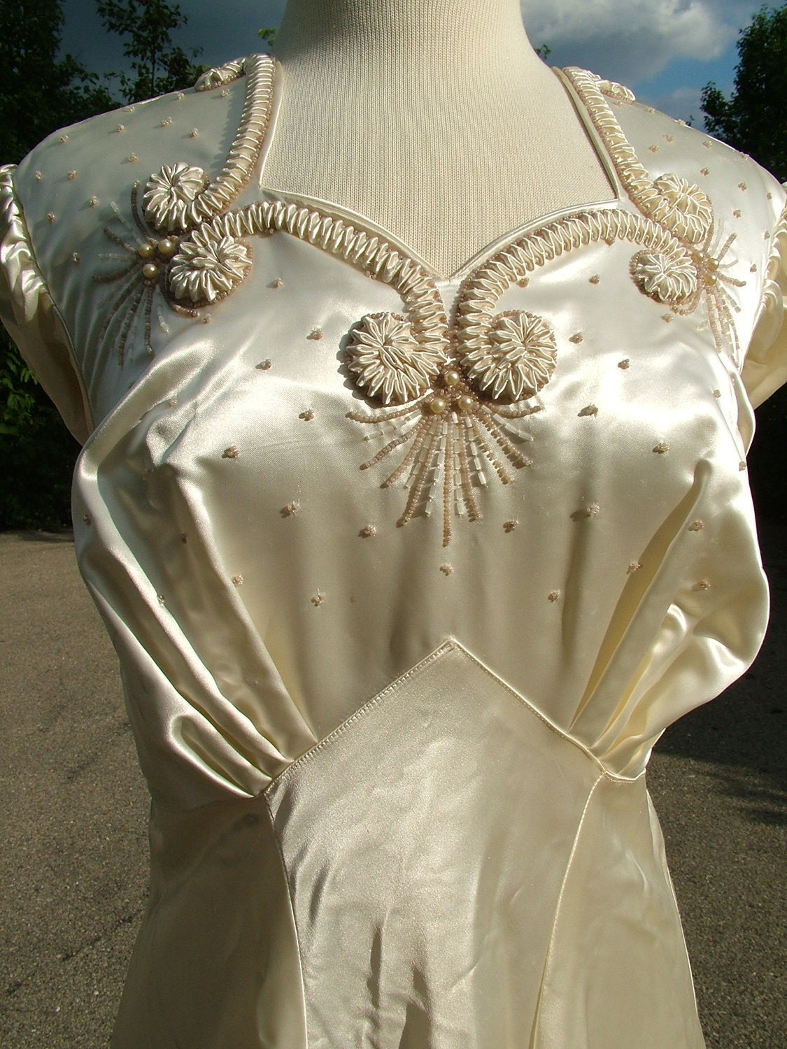 Vintage 1940s Slipper Satin Wedding Gown Dress With Remarkable