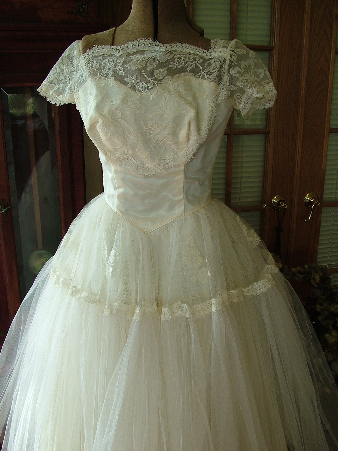 1950s vintage wedding dress gown tea length lace and tulle