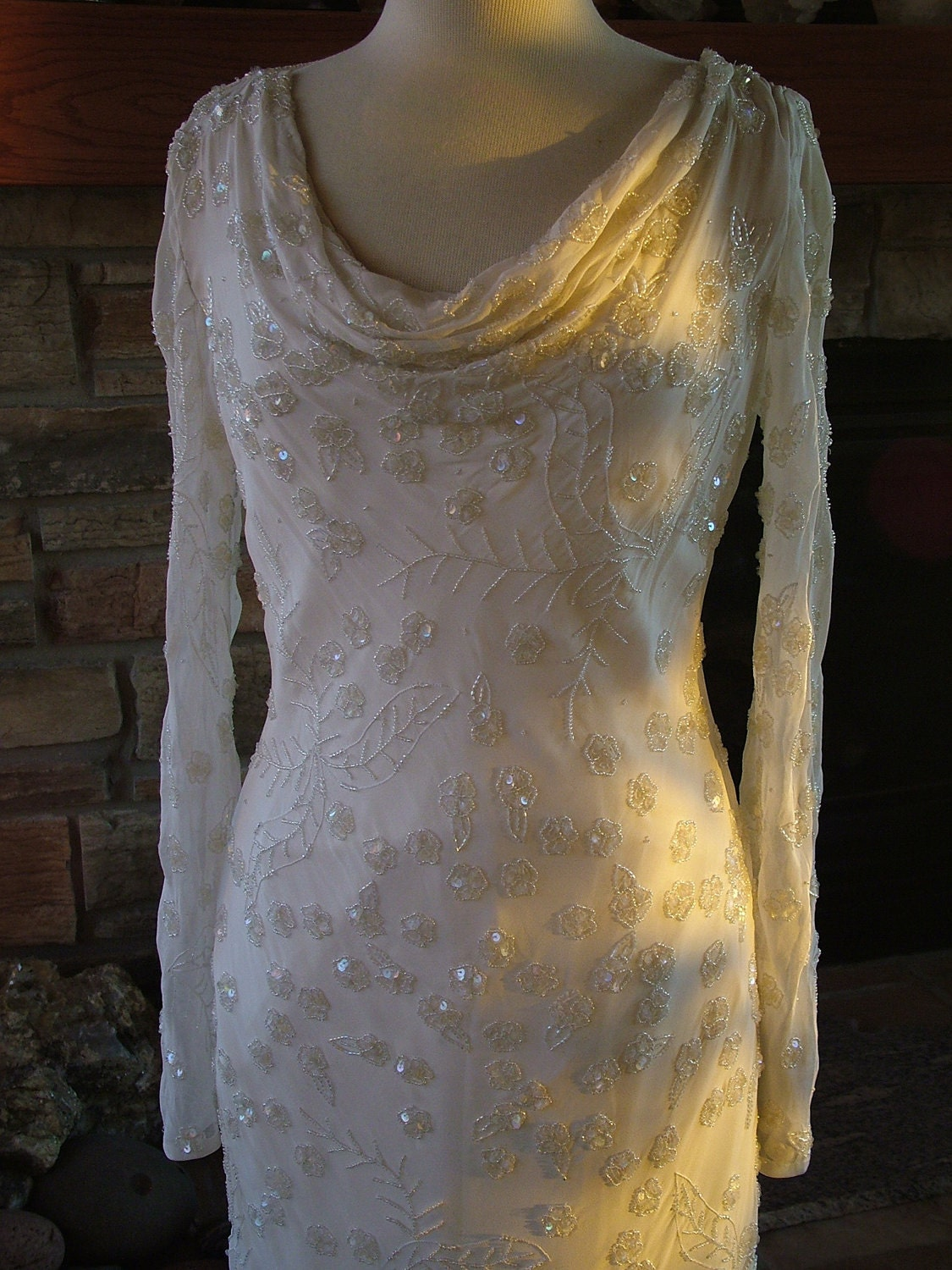 wedding dress with 1930s vintage style beaded cowl neck