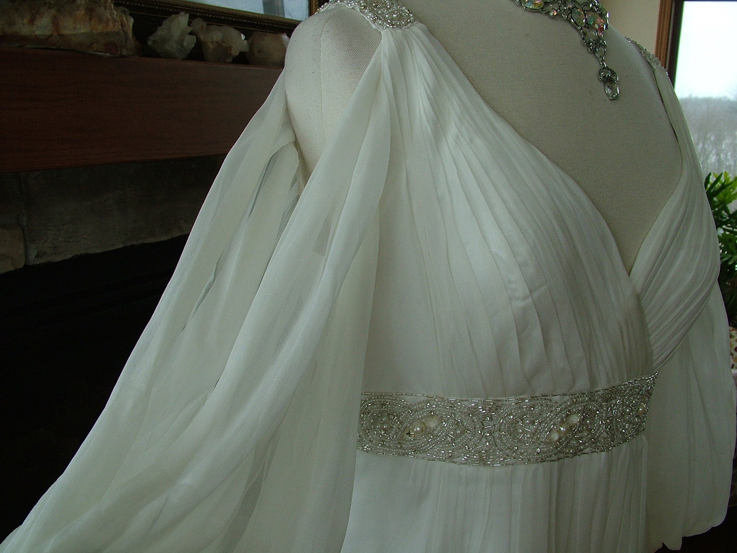 Wedding Dress Silk Chiffon Roman Goddess Sz 14 Beaded Bridal