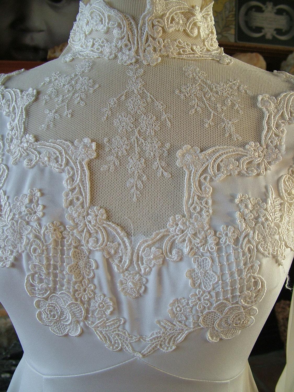 Wedding dress 1970s vintage victorian inspired lace poly for Victorian inspired wedding dress