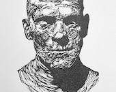 the mummy LINOCUT boris KARLOFF limited edition original hand pulled PRINT